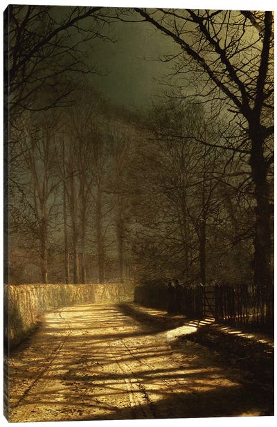 A Moonlit Lane, with two lovers by a gate Canvas Art Print