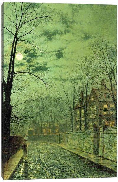 A Moonlit Road  Canvas Art Print