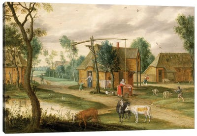 A village landscape with a woman drawing water from a well  Canvas Art Print