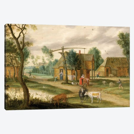 A village landscape with a woman drawing water from a well  Canvas Print #BMN1061} by Isaak van Oosten Canvas Art