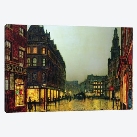 Boar Lane, Leeds, 1881  Canvas Print #BMN10625} by John Atkinson Grimshaw Canvas Wall Art