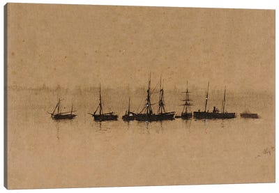 Boats at Anchor in an Estuary, 1892  Canvas Art Print