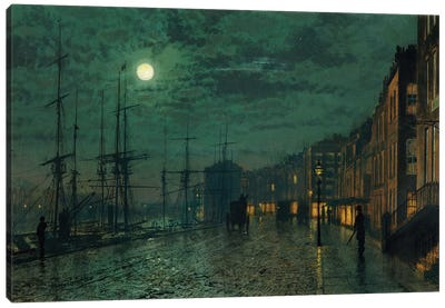 City Docks by Moonlight  Canvas Art Print