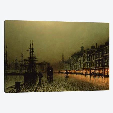 Greenock Dock by Moonlight Canvas Print #BMN10639} by John Atkinson Grimshaw Canvas Art