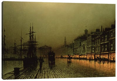 Greenock Dock by Moonlight Canvas Art Print