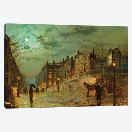 Hampstead Hill, Looking Down Heath Street, 1881  Canvas Print #BMN10640} by John Atkinson Grimshaw Canvas Art Print