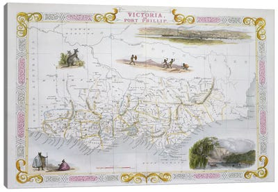 "Victoria, Australia, from ""Illustrated Atlas of the World"", pub. by Tallis & Co., 1849-53 Canvas Art Print"