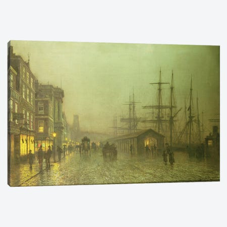 Liverpool Docks Canvas Print #BMN10650} by John Atkinson Grimshaw Canvas Wall Art