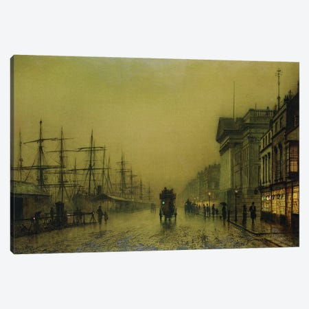 Liverpool Docks Customs House and Salthouse Docks, Liverpool  3-Piece Canvas #BMN10651} by John Atkinson Grimshaw Canvas Wall Art