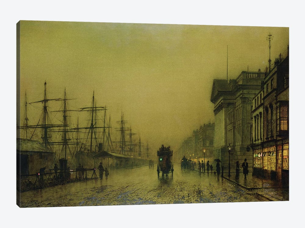 Liverpool Docks Customs House and Salthouse Docks, Liverpool  by John Atkinson Grimshaw 1-piece Canvas Wall Art