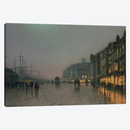 Liverpool Docks from Wapping, c.1870,  Canvas Print #BMN10652} by John Atkinson Grimshaw Canvas Wall Art