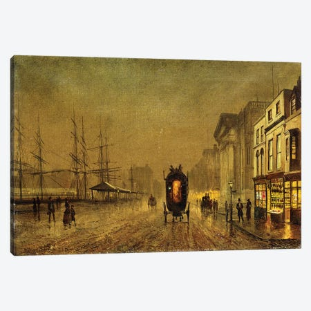 Liverpool Docks,  3-Piece Canvas #BMN10653} by John Atkinson Grimshaw Canvas Wall Art