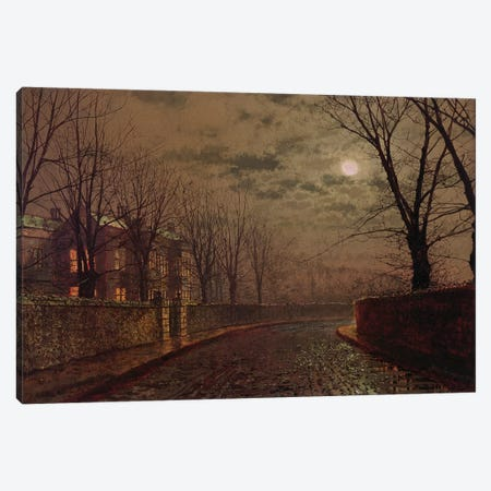 Moonlit Street Scene, 1882  Canvas Print #BMN10656} by John Atkinson Grimshaw Canvas Print