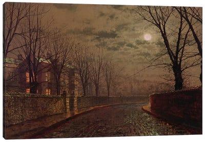 Moonlit Street Scene, 1882  Canvas Art Print