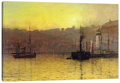 Nightfall in Scarborough Harbour, 1884  Canvas Art Print