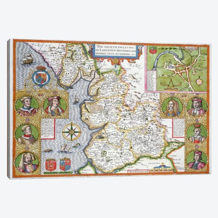 Lancashire in 1610, from John Speed's 'Theatre of the Empire of Great Britaine', first edition, pub. 1611-12  Canvas Print #BMN1065} by John Speed Canvas Art Print