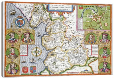 Lancashire in 1610, from John Speed's 'Theatre of the Empire of Great Britaine', first edition, pub. 1611-12 Canvas Art Print