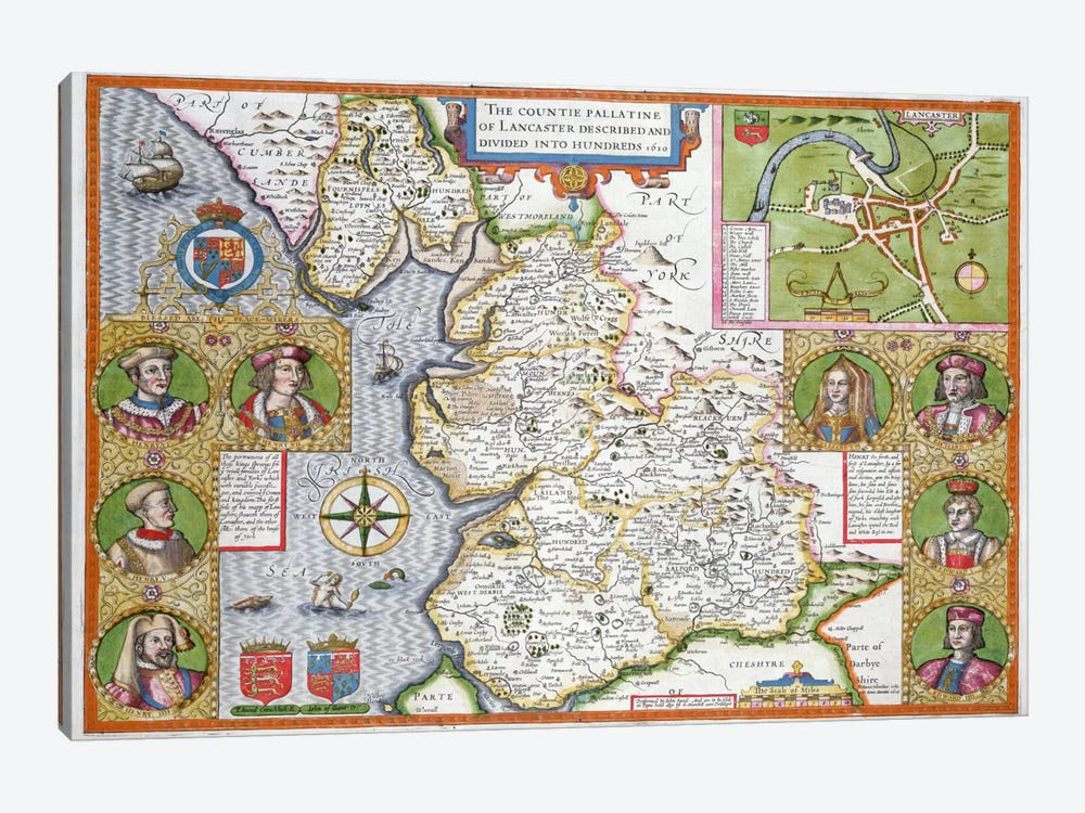 Lancashire in 1610, from John Speed's 'Theatre of the Empire of Great Britaine', first edition, pub. 1611-12  by John Speed 1-piece Canvas Wall Art