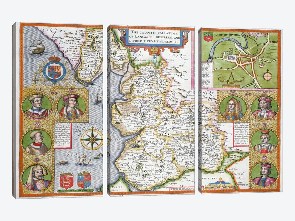 Lancashire in 1610, from John Speed's 'Theatre of the Empire of Great Britaine', first edition, pub. 1611-12  by John Speed 3-piece Canvas Wall Art