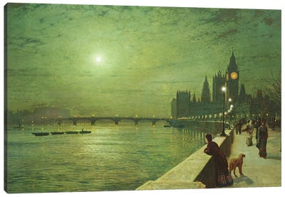 Reflections on the Thames, Westminster, 1880  Canvas Art Print