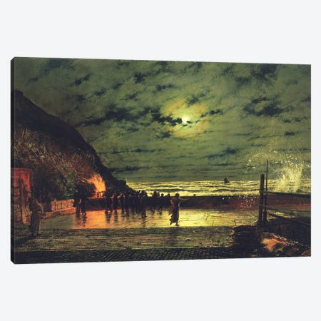 The Harbour Flare, 1879  Canvas Print #BMN10665} by John Atkinson Grimshaw Canvas Wall Art