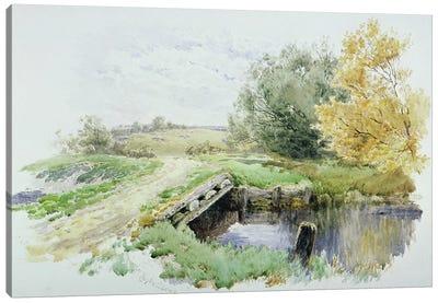 Landscape with bridge over a stream  Canvas Art Print
