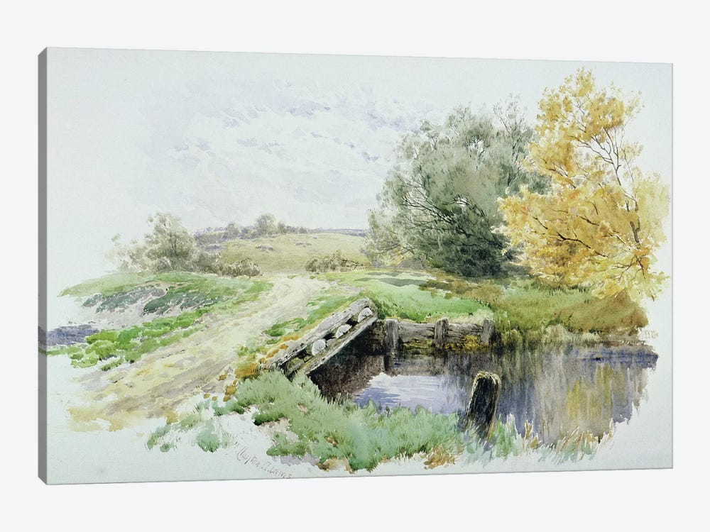Landscape with bridge over a stream  by John Clayton Adams 1-piece Canvas Art