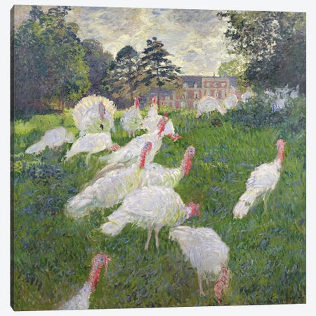 The Turkeys at the Chateau de Rottembourg, Montgeron, 1877  Canvas Print #BMN1067} by Claude Monet Canvas Art Print