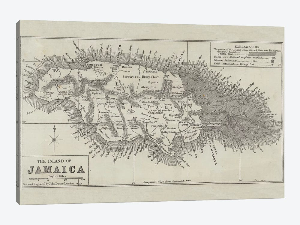 Map of the Island of Jamaica  by John Dower 1-piece Canvas Wall Art