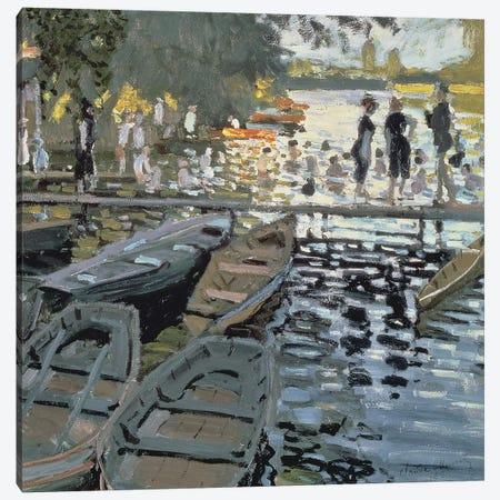 Bathers at La Grenouillere, 1869   3-Piece Canvas #BMN1068} by Claude Monet Canvas Artwork