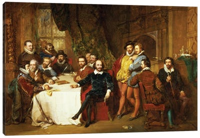 Shakespeare and his Friends at the Mermaid Tavern, 1850  Canvas Art Print