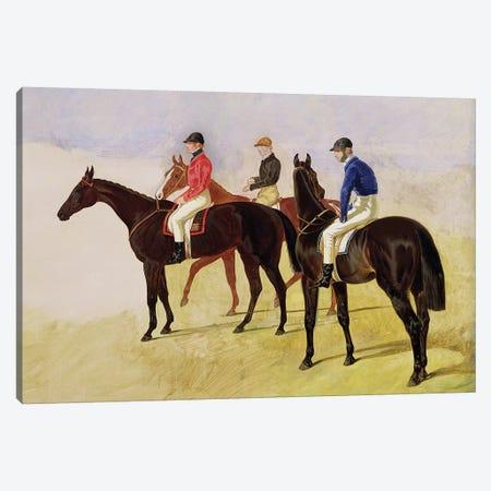 Study of Three Steeplechase Cracks: Three Racehorses with Jockeys Up  Canvas Print #BMN10697} by John Frederick Herring Sr Art Print