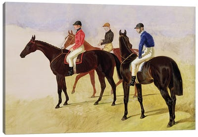 Study of Three Steeplechase Cracks: Three Racehorses with Jockeys Up  Canvas Art Print