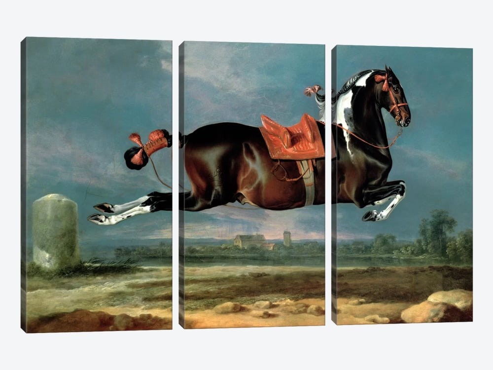 The piebald horse 'Cehero' rearing by Johann Georg Hamilton 3-piece Canvas Wall Art