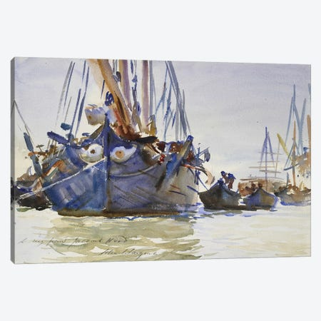 Italian sailing Vessels at Anchor  Canvas Print #BMN10793} by John Singer Sargent Art Print