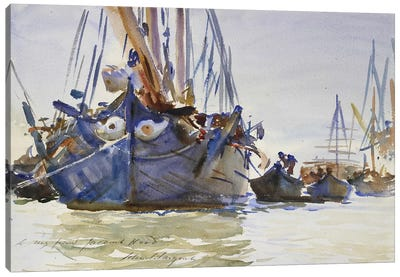 Italian sailing Vessels at Anchor  Canvas Art Print
