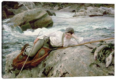 On His Holidays, Norway, 1901  Canvas Art Print