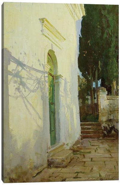 Shadows on a wall in Corfu Canvas Art Print