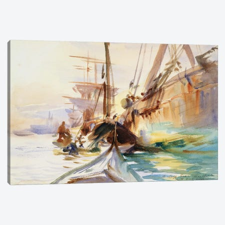 Unloading Boats in Venice, 1904  Canvas Print #BMN10817} by John Singer Sargent Art Print
