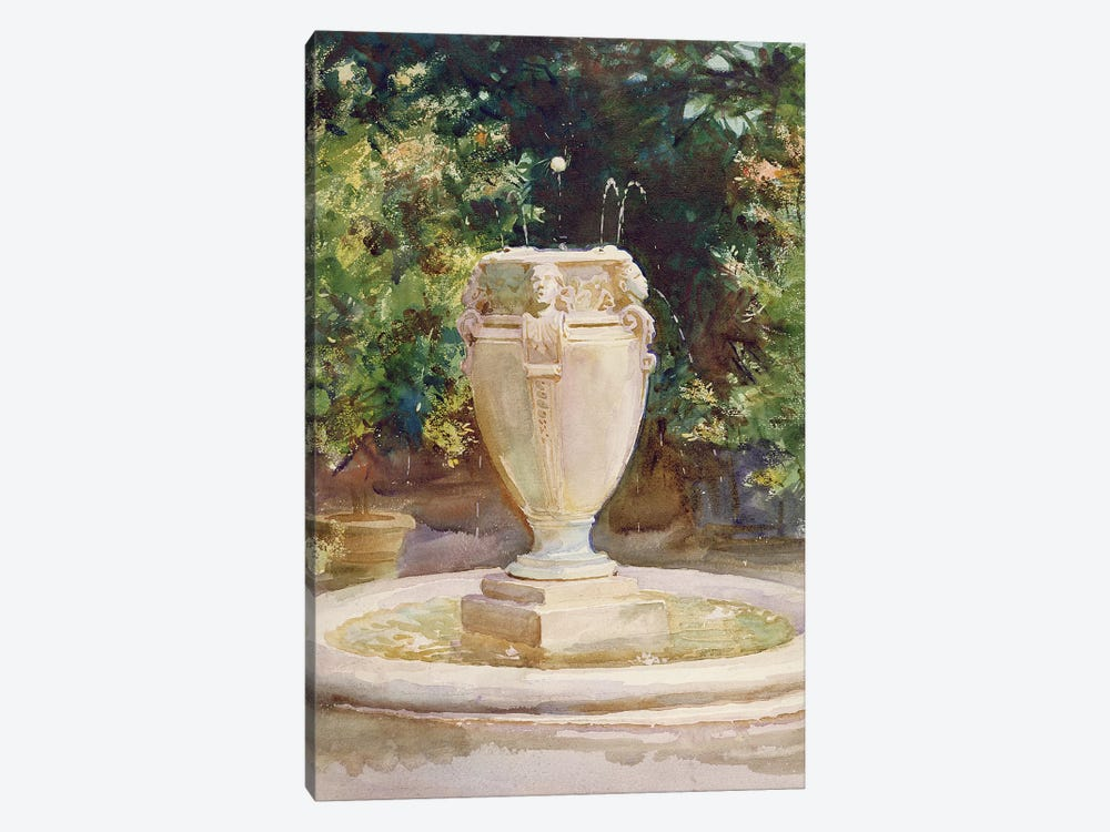 Vase Fountain, Pocantico  by John Singer Sargent 1-piece Canvas Art