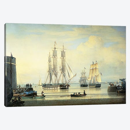 The 'William Lee' at the Mouth of the Humber Dock, Hull, or The Return of the 'William Lee', 1839  Canvas Print #BMN10833} by John Ward Canvas Art