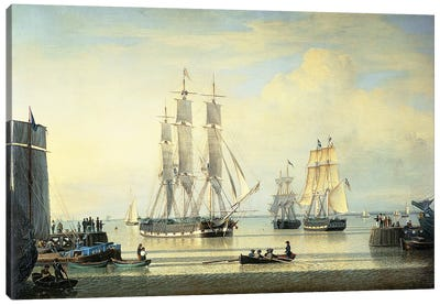 The 'William Lee' at the Mouth of the Humber Dock, Hull, or The Return of the 'William Lee', 1839  Canvas Art Print