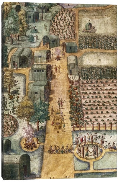 The Indian village of Secoton, c.1570-80   Canvas Art Print