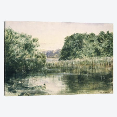 View of a Lake with Trees, 1857  Canvas Print #BMN10850} by John William Inchbold Canvas Artwork