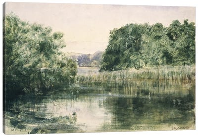 View of a Lake with Trees, 1857  Canvas Art Print