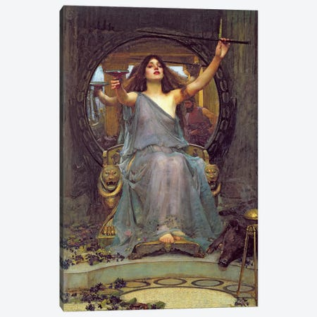 Circe Offering the Cup to Ulysses, 1891  Canvas Print #BMN10853} by John William Waterhouse Canvas Artwork