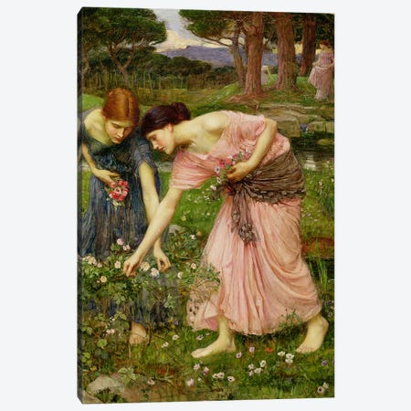 Gather Ye Rosebuds While Ye May', 1909  Canvas Print #BMN10855} by John William Waterhouse Canvas Print