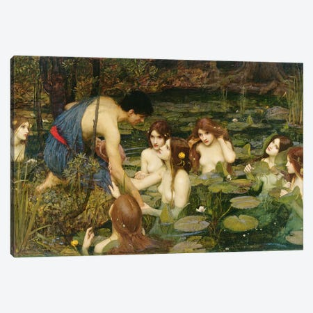 Hylas and the Nymphs, 1896  Canvas Print #BMN10856} by John William Waterhouse Art Print