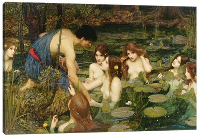 Hylas and the Nymphs, 1896  Canvas Art Print
