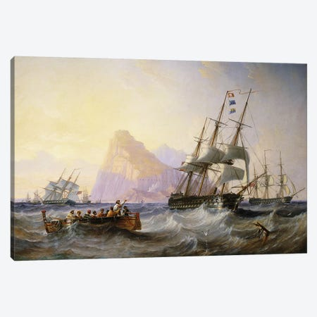 British Men O' War off Gibraltar, 1855  Canvas Print #BMN10868} by John Wilson Carmichael Canvas Print